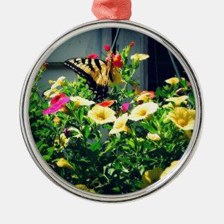Gelber Schmetterling mit Blumen-Foto Silbernes Ornament