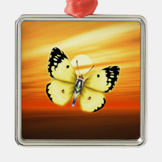 Gelber Schmetterling Silbernes Ornament