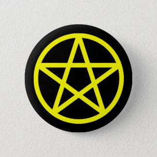 Gelber schwarzer fester Pentagramm-Knopf Runder Button 5,1 Cm
