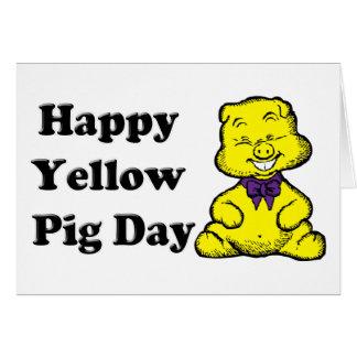 Gelber Schwein-Tag Karte