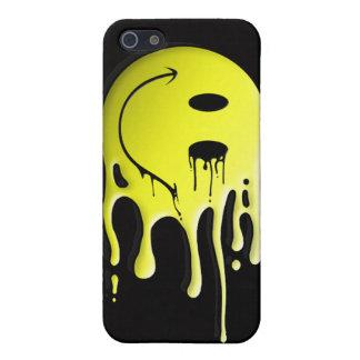 gelber smiley auf schwarzem Hintergrund iPhone 5 Hülle