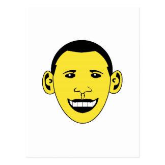 Gelber smiley-Cartoon Obama Postkarten