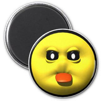 Gelber smiley, der heraus tounge haftet runder magnet 5,1 cm