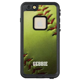 Gelber Softball Fastpitch mit Namenstext LifeProof FRÄ' iPhone 6/6s Plus Hülle