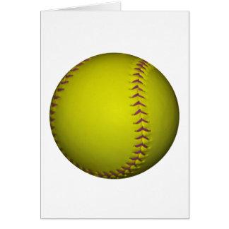 Gelber Softball mit lila Stichen Karte