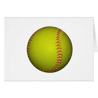 Gelber Softball mit rosa Stichen Karte