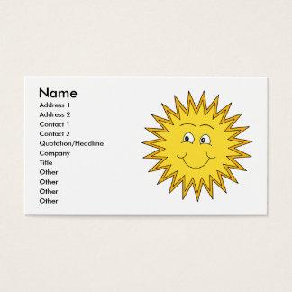 Gelber Sommer Sun mit einem glücklichen Gesicht Visitenkarte