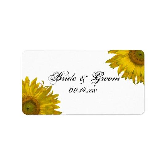 Gelber Sonnenblume-Gastgeschenk Hochzeits-Umbau Adress Aufkleber