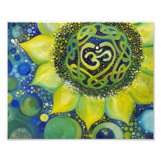 Gelber Sonnenblume-Krone Chakra Entwurf Fotodruck