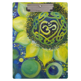 Gelber Sonnenblume-Krone Chakra Entwurf Klemmbrett