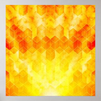 Gelber Sonnendurchbruch-geometrischer Poster