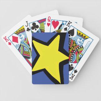 gelber Stern und ein blauer Hintergrund Bicycle Spielkarten
