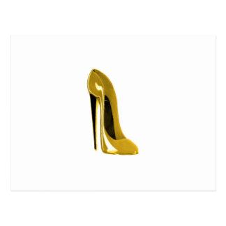 Gelber Stilett-Schuh Postkarte