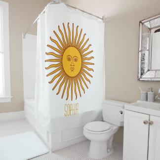 Gelber Sun-Astrologie-Planet personifizieren Duschvorhang