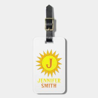 Gelber Sun-Sonnenschein-personalisierter Gepäckanhänger