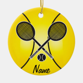 Gelber Tennisball | personifizieren Rundes Keramik Ornament