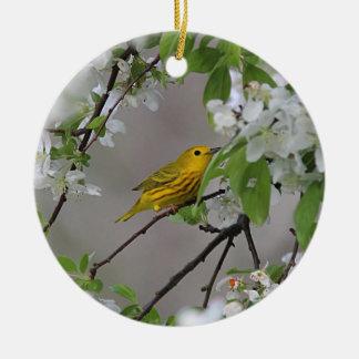 Gelber Trällerer-und Frühlings-Blüten Keramik Ornament