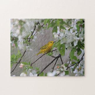 Gelber Trällerer-und Frühlings-Blüten Puzzle