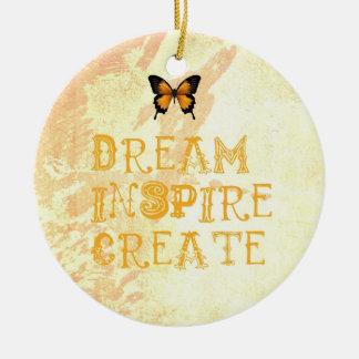 Gelber Traum, inspirieren, Weihnachtsverzierung Rundes Keramik Ornament