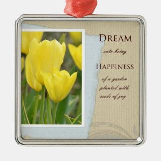 Gelber Tulpe-Garten-Traum und Glück Quadratisches Silberfarbenes Ornament