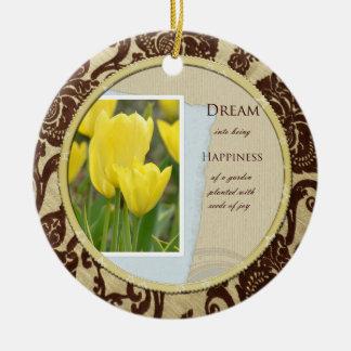 Gelber Tulpe-Garten-Traum und Glück Rundes Keramik Ornament