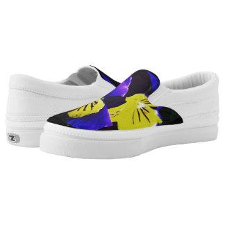 Gelber u. blauer Blumenschuh Slip-On Sneaker