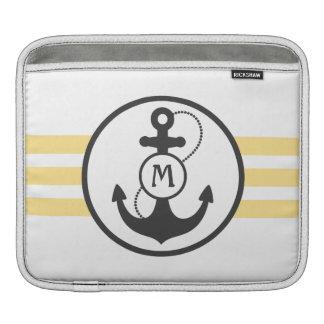 Gelber und grauer Seeentwurf mit Anker Sleeve Für iPads