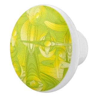 Gelber und grüner Kunst-Deko Keramikknauf