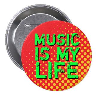 Gelber und roter Retro Liebe-Musik-Knopf des Runder Button 7,6 Cm