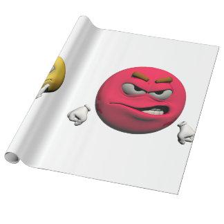Gelber und roter verärgerter Emoticon oder smiley Geschenkpapier