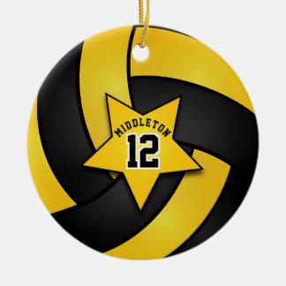 Gelber und schwarzer Stern-Volleyball Keramik Ornament