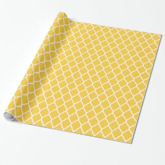 Gelber und weißer Marokkaner Quatrefoil Geschenkpapier
