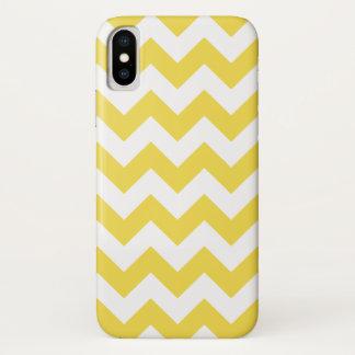 Gelber und weißer Zickzack-Zickzack Muster iPhone X Hülle