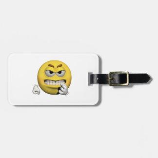 Gelber verärgerter Emoticon oder smiley Kofferanhänger