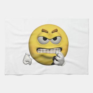 Gelber verärgerter Emoticon oder smiley Küchentuch