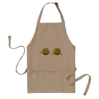 Gelber verärgerter Emoticon oder smiley Schürze