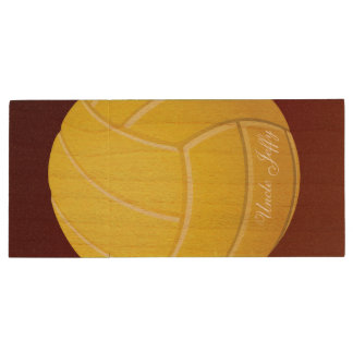 Gelber Volleyball-Monogramm-Name Holz USB Stick 3.0