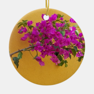 Gelber Wand-Rosa-Blumen-Bogen-Sonnenschein Keramik Ornament