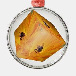 Gelber Würfel mit Bieneninsekt und -Blume Rundes Silberfarbenes Ornament