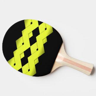 Gelber Zickzack auf Schwarzem Tischtennis Schläger