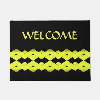 Gelber Zickzack auf schwarzer Fußmatte Türmatte