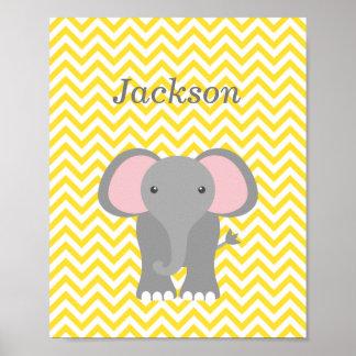 Gelber Zickzack Elefant-personalisierter Poster