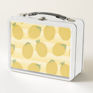 Gelber Zitronen-Sommer-Frucht-Aquarell-Spaß hell Metall Lunch Box