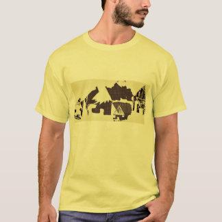 Gelbes afrikanisches Dorf, das T-Stück für Männer T-Shirt