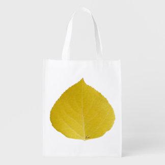 Gelbes Aspen-Blatt #5 Wiederverwendbare Einkaufstasche
