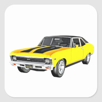 Gelbes Auto des Muskel-1968 Quadratischer Aufkleber