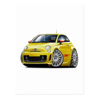 Gelbes Auto Fiats 500 Abarth Postkarte