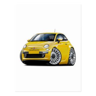 Gelbes Auto Fiats 500 Postkarte