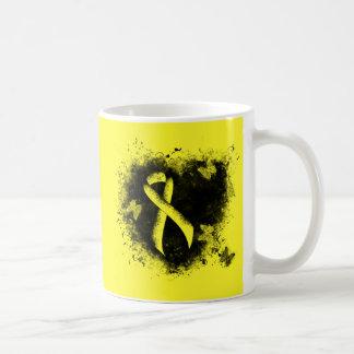 Gelbes Band-Schmutz-Herz Kaffeetasse