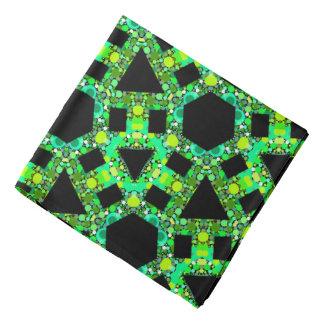 Gelbes Bandana Jimette Design blaues grünes auf Kopftuch